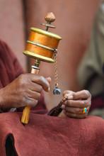 Prayer Wheel In Hand