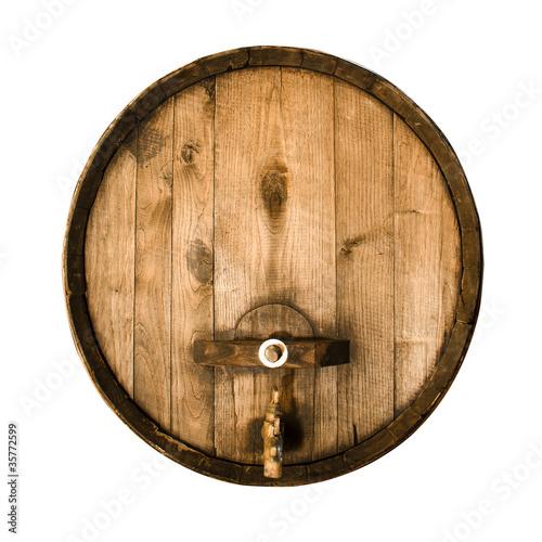 Valokuva Old wooden barrel isolated on a white background