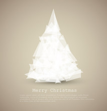 Vector Modern Card With Abstract White Christmas Tree