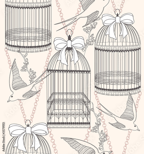 In de dag Vogels in kooien Seamless pattern with birdcages, flowers and birds. Floral and s