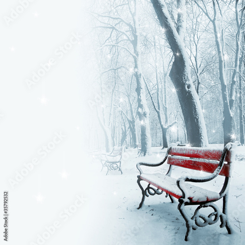 Fototapety, obrazy: Red benches in the snow