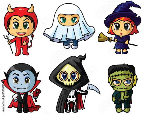 Poster Creatures chibi halloween