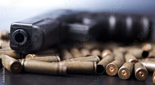 Ammunition and automatic handgun Canvas Print