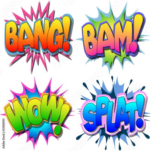 Photo  A Selection of Comic Book Illustrations Bang Bam Wow Splat
