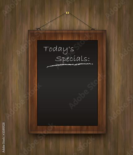 Cuadros en Lienzo blackboard wood menu Todays special black