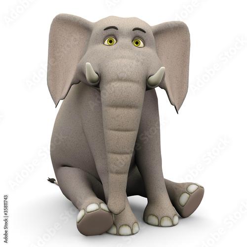 elephante cartoon in sit pose Canvas Print