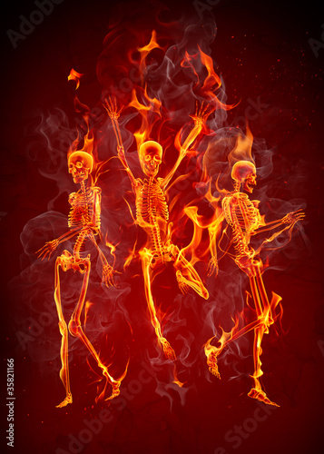 Recess Fitting Flame Dancing fiery skeletons