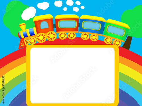 Printed kitchen splashbacks Rainbow Rainbow, train, frame
