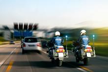 Autobahnpolizei Mit Motorrädern