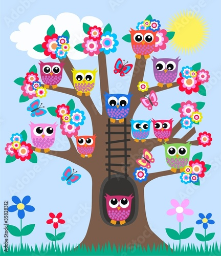 lot of owls in a tree