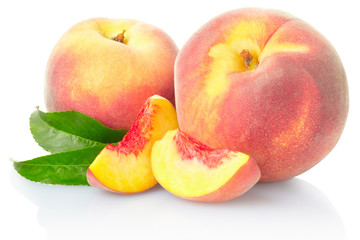Peach fruits with leaves on white with clipping path