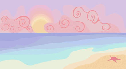 Fototapeta na wymiar Beach and sunset with pastel colors