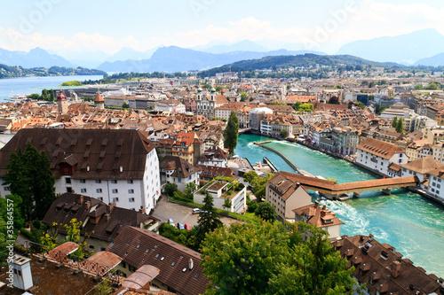 Photographie  Luzern City Vue des remparts avec la rivière Reuss, Suisse