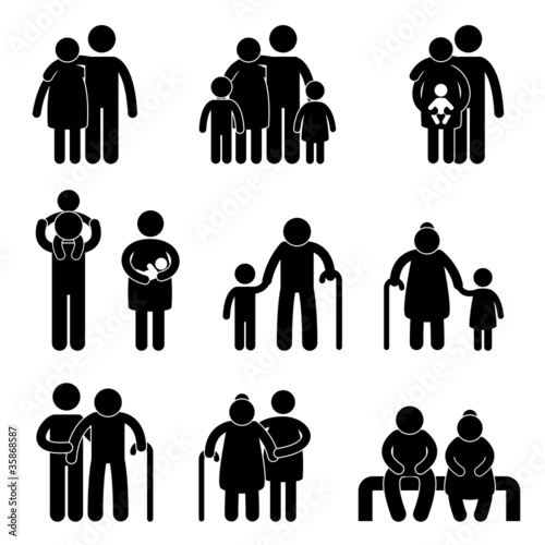 Fotografie, Obraz  Happy Family  Icon Sign Symbol Pictogram