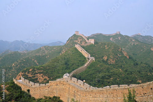 Fotografia Great Wall of China Jinshaling T-Junction winding into distance