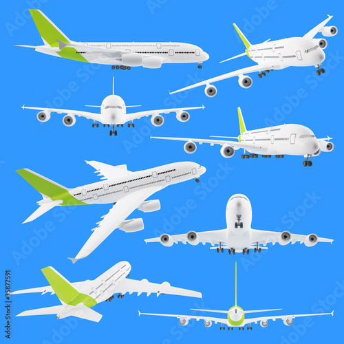 Fotografia  Set of different views of airplane airbus isolated on blue