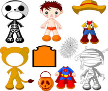 Boy With Costumes  For Hallowe...