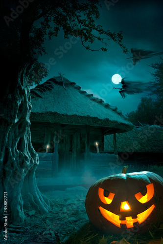 Fotobehang Volle maan background for a party on Halloween night