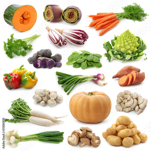 Vegetable collection isolated on a white background. Fototapete