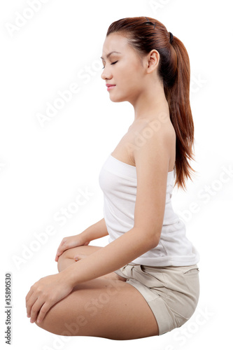 Fototapety, obrazy: asian woman doing yoga in meditating position