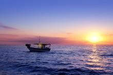 Blue Sea Sunrise With Sun In Horizon