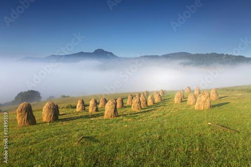 Sunrise in field with haycocks Fototapet