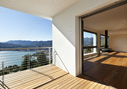 Fototapeta Modern apartment, balcony with panoramic view