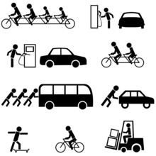 Vector Set Of Black Transportation Icons
