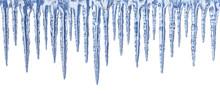 Blue Icicles On White Backgrou...