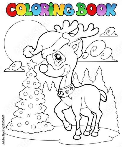Türaufkleber Zum Malen Coloring book Christmas deer 1
