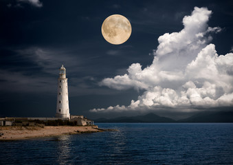 lighthouse at night.