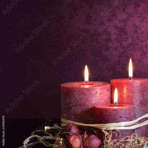 Fotografie, Obraz  Three candles in purple