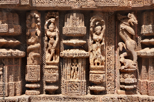 Fotografie, Obraz  Fine carved sculptures at Sun temple konark