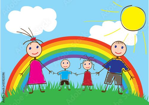 Foto op Canvas Regenboog vector happy family