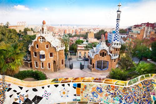 Obraz na płótnie Colorful architecture by Antonio Gaudi in park Guell