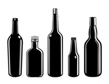 Glass Bottle Containers Black And White Cartoon Vector Graphic Illustration Set