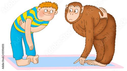 Tuinposter Gymnastiek boy doing gymnastics, depicting a chimpanzee