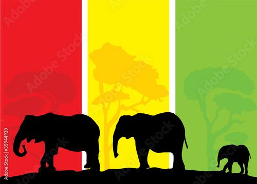 Foto auf AluDibond Ziehen vector elephant background