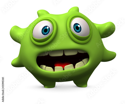 Poster de jardin Doux monstres green virus