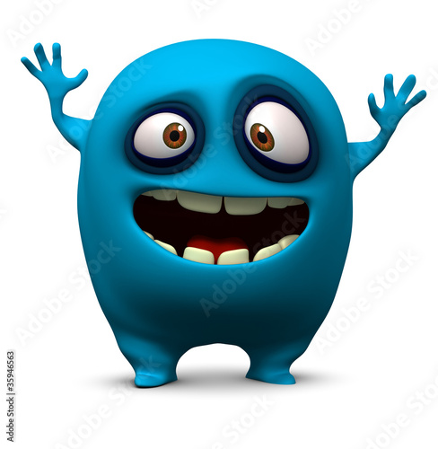 Happy blue monster