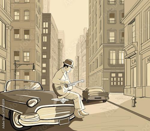 Staande foto Muziekband guitarist in an old street of New york