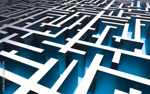 Fotografie, Obraz  labyrinth with a blue floor