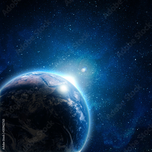 Fotografie, Tablou  blue earth in space with rising sun