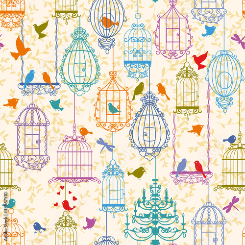 Acrylic Prints Birds in cages Birds and cages vintage pattern
