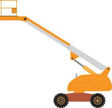 An Orange And Grey Cherry Picker Platform