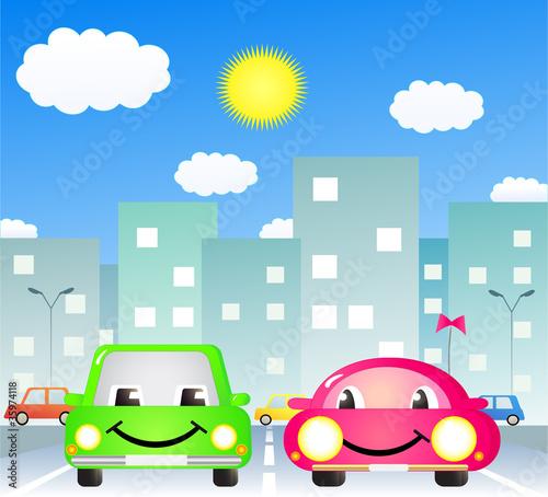 Foto op Canvas Cars two cute cartoon car in city road