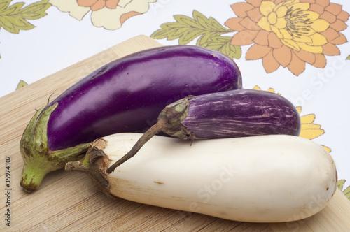 Fotografie, Obraz  Purple, Sicilian Zebra and Albino White Eggplant Varities