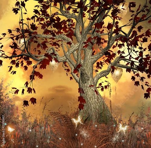 Obrazy tajemniczy ogród ilustracja-jesien