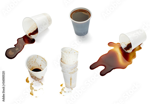 Fotografering  plastic cup of coffee dring beverage food office spilled messy