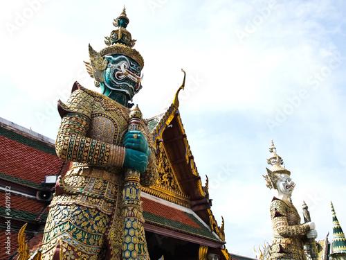 Statue two gaurd giant at Wat Phra Kaew , Bangkok Wallpaper Mural